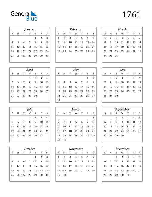 Image of 1761 1761 Calendar Streamlined