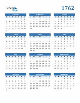 Image of 1762 1762 Calendar Blue with No Borders