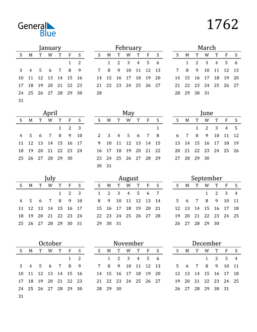Image of 1762 1762 Printable Calendar Classic