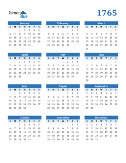 Image of 1765 1765 Calendar Blue with No Borders