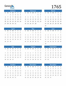 Image of 1765 1765 Calendar