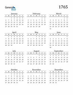 Image of 1765 1765 Printable Calendar Classic