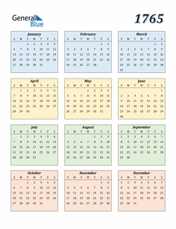 Image of 1765 1765 Calendar with Color