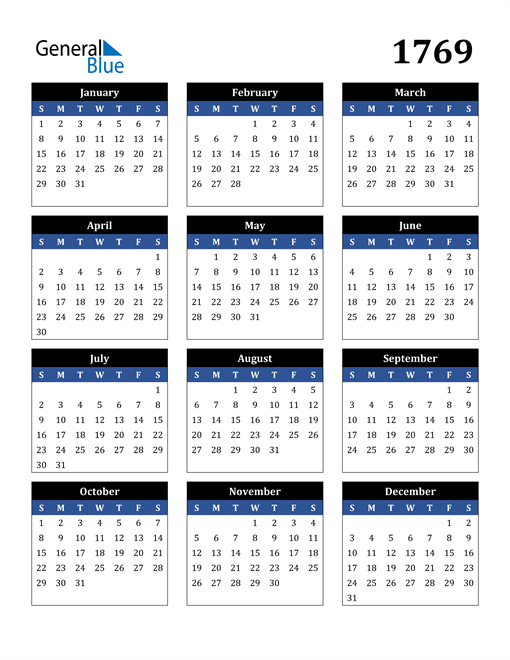 Image of 1769 1769 Calendar Stylish Dark Blue and Black