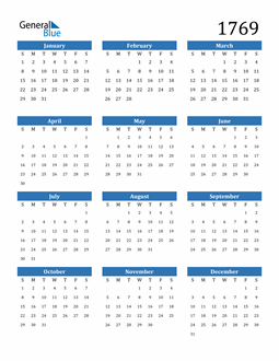 Image of 1769 1769 Calendar