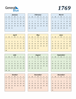Image of 1769 1769 Calendar with Color