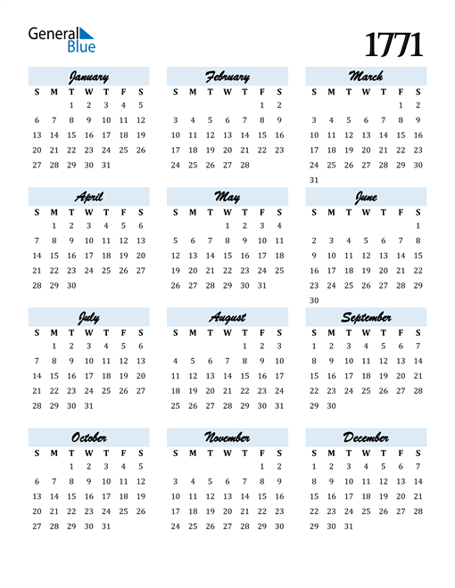 Image of 1771 1771 Calendar Cool and Funky
