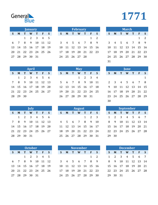 Image of 1771 1771 Calendar Blue with No Borders