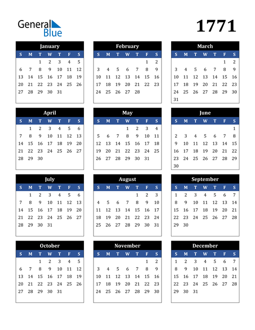 Image of 1771 1771 Calendar Stylish Dark Blue and Black