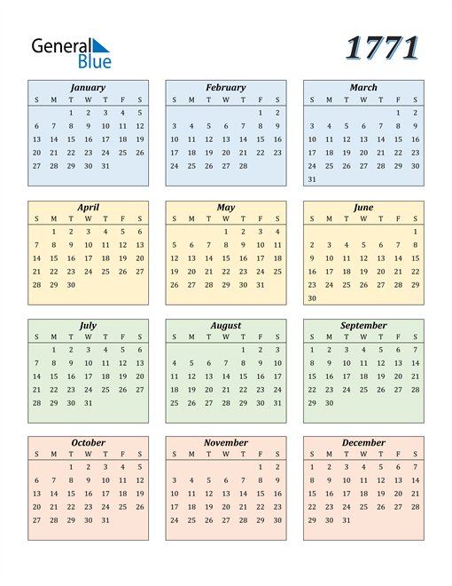 Image of 1771 1771 Calendar with Color