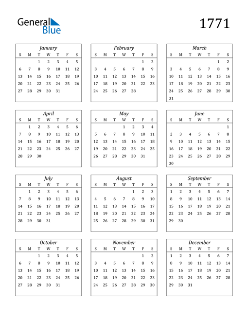 Image of 1771 1771 Calendar Streamlined