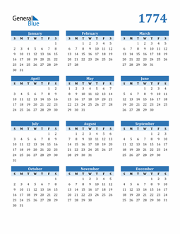 Image of 1774 1774 Calendar Blue with No Borders