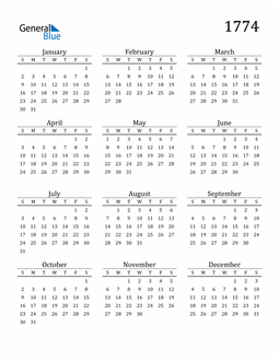 Image of 1774 1774 Printable Calendar Classic