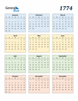 Image of 1774 1774 Calendar with Color