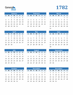 Image of 1782 1782 Calendar Blue with No Borders