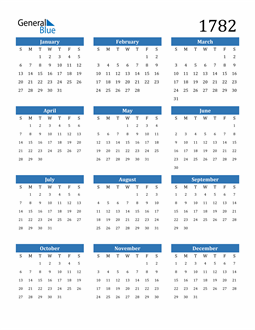 Image of 1782 1782 Calendar
