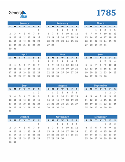 Image of 1785 1785 Calendar Blue with No Borders