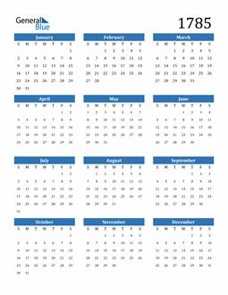 Image of 1785 1785 Calendar