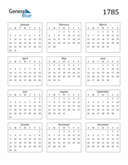 Image of 1785 1785 Calendar Streamlined