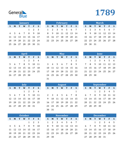 Image of 1789 1789 Calendar Blue with No Borders
