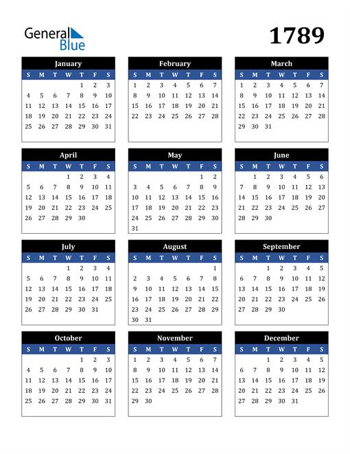 Image of 1789 1789 Calendar Stylish Dark Blue and Black