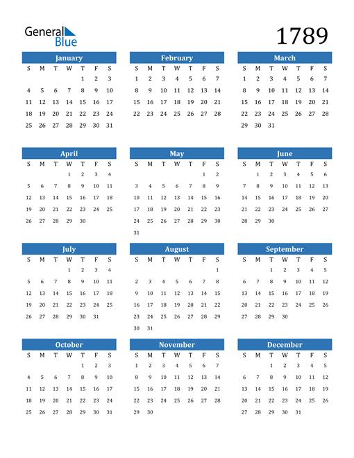 Image of 1789 1789 Calendar