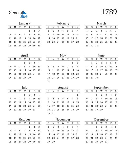 Image of 1789 1789 Printable Calendar Classic