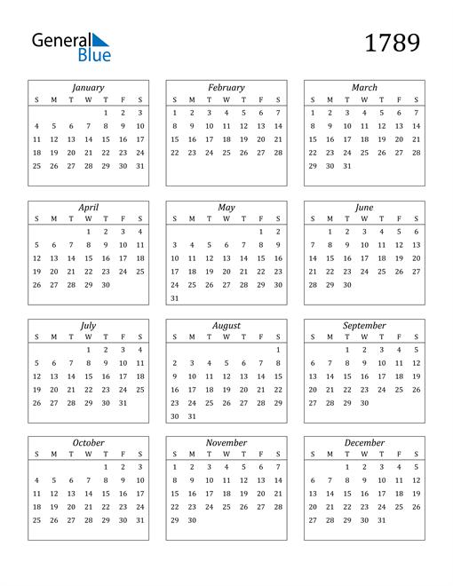 Image of 1789 1789 Calendar Streamlined