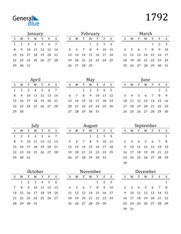 Image of 1792 1792 Printable Calendar Classic
