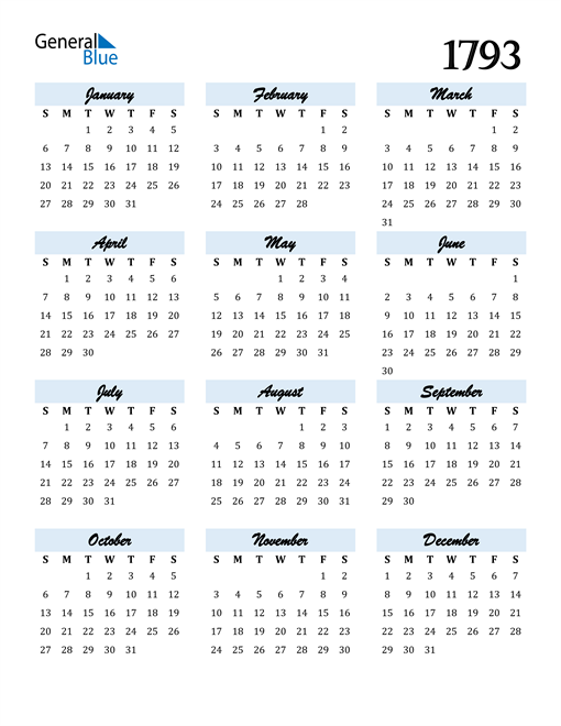 Image of 1793 1793 Calendar Cool and Funky