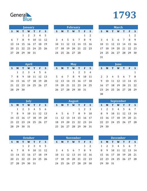 Image of 1793 1793 Calendar Blue with No Borders