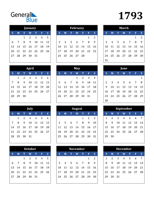 Image of 1793 1793 Calendar Stylish Dark Blue and Black