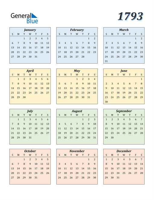 Image of 1793 1793 Calendar with Color