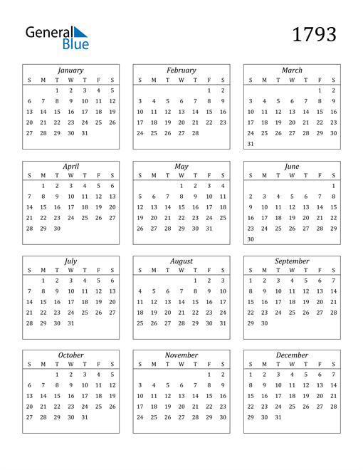 Image of 1793 1793 Calendar Streamlined
