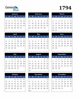Image of 1794 1794 Calendar Stylish Dark Blue and Black