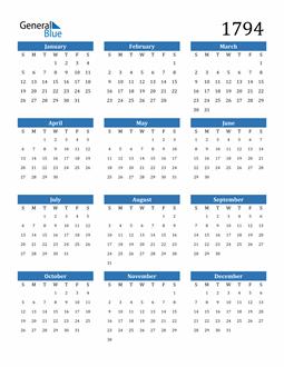 Image of 1794 1794 Calendar