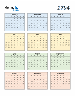 Image of 1794 1794 Calendar with Color