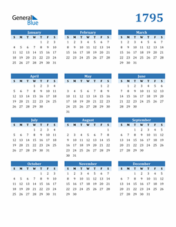 Image of 1795 1795 Calendar Blue with No Borders