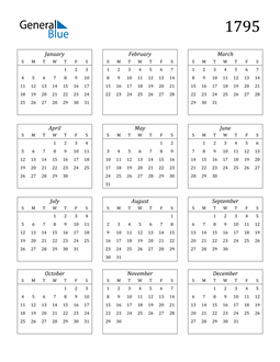 Image of 1795 1795 Calendar Streamlined