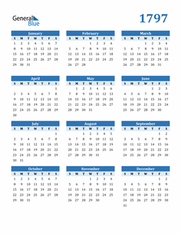 Image of 1797 1797 Calendar Blue with No Borders
