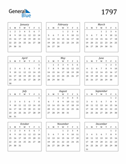 Image of 1797 1797 Calendar Streamlined