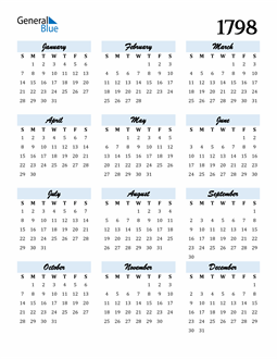 Image of 1798 1798 Calendar Cool and Funky
