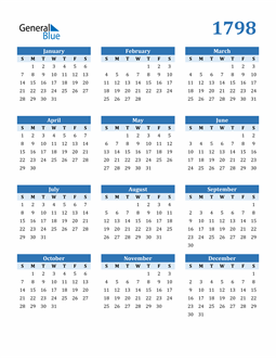 Image of 1798 1798 Calendar Blue with No Borders