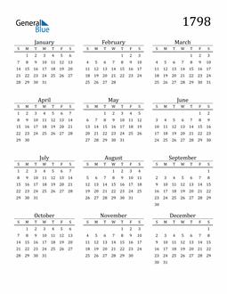 Image of 1798 1798 Printable Calendar Classic