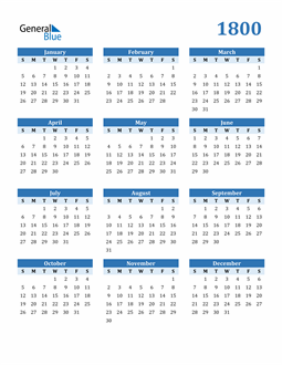 Image of 1800 1800 Calendar Blue with No Borders