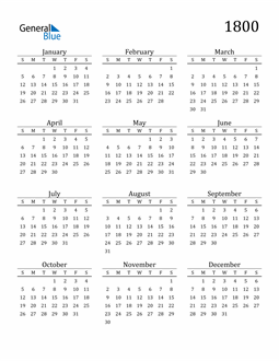 Image of 1800 1800 Printable Calendar Classic
