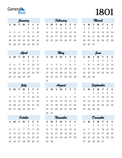 Image of 1801 1801 Calendar Cool and Funky