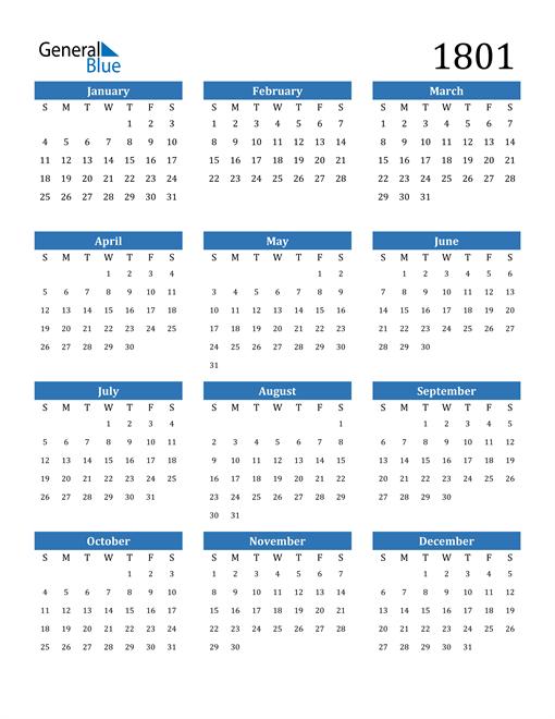 Image of 1801 1801 Calendar