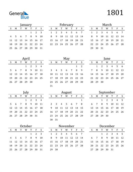 Image of 1801 1801 Printable Calendar Classic