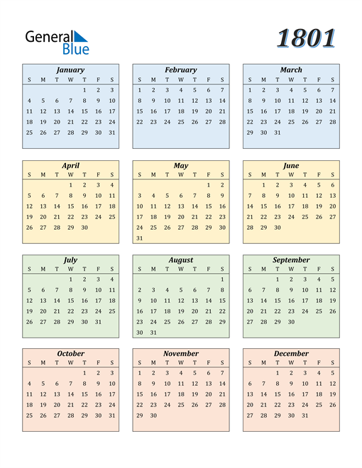 Image of 1801 1801 Calendar with Color